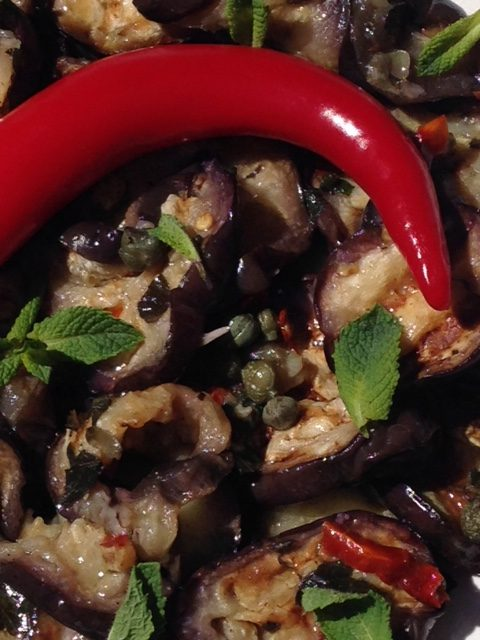 Salade aubergines menthe zoom